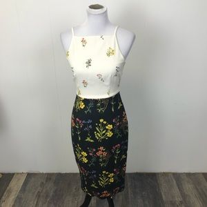 H and M Two Tone Floral Midi Dress